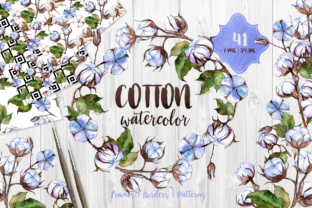 Blue and White Cotton PNG Watercolor Set Graphic By MyStocks
