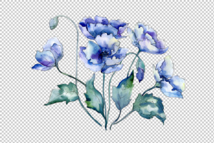 Bouquet of Blue Poppies PNG Watercolor Set Graphic By MyStocks