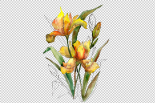 Bouquet of Yellow Irises PNG Watercolor Set Graphic By MyStocks