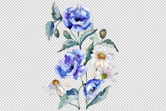 Download Free Bouquet With Blue Poppies And Daisies Png Set Graphic By for Cricut Explore, Silhouette and other cutting machines.