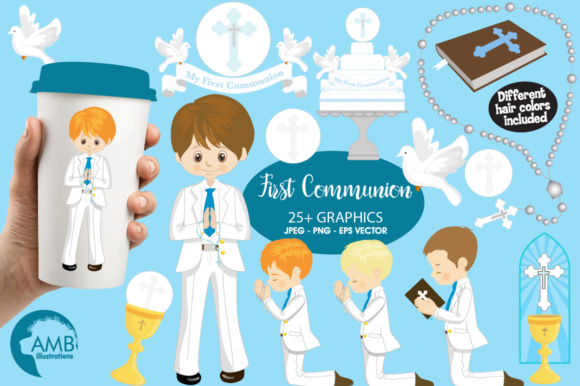 Boys First Communion Clipart Graphic Illustrations By AMBillustrations