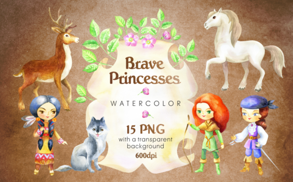 Print on Demand: Brave Princesses Watercolor Set Graphic Illustrations By Olga Belova