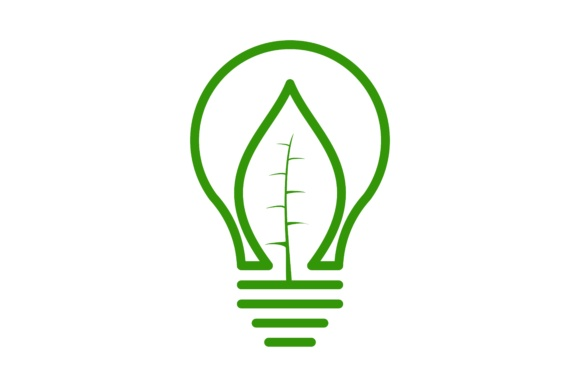Download Free Bulb Idea And Green Leaf Logo Graphic By Yahyaanasatokillah for Cricut Explore, Silhouette and other cutting machines.