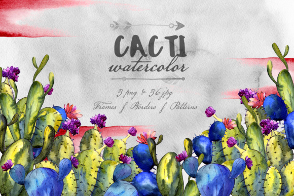 Download Free Cacti Watercolor Set Graphic By Mystocks Creative Fabrica for Cricut Explore, Silhouette and other cutting machines.