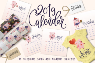 2019 Calendar with Graphic Elements Graphic By Red Ink