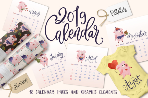 Print on Demand: 2019 Calendar with Graphic Elements Graphic Illustrations By Red Ink - Image 1