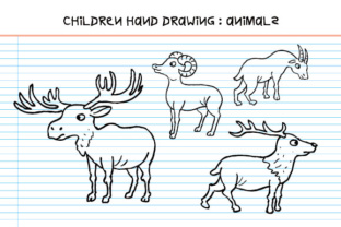 Download Free Children Hand Drawing Animals Deer Family Graphic By for Cricut Explore, Silhouette and other cutting machines.