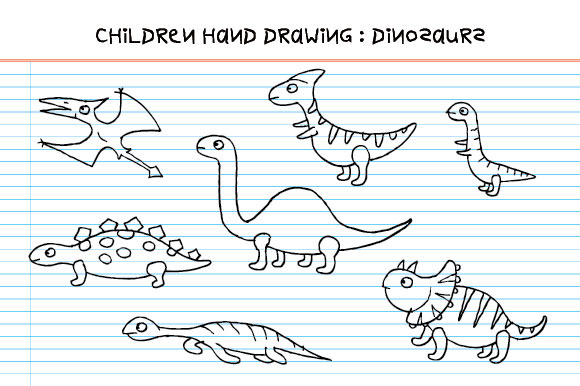 Children Hand Drawing - Dinosaurs. Graphic Illustrations By emnazar2009