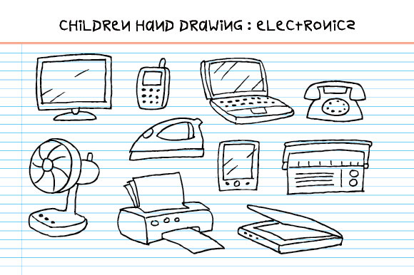 Download Free Children Hand Drawing Electronics Graphic By Emnazar2009 for Cricut Explore, Silhouette and other cutting machines.