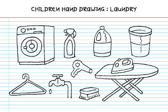 Children Hand Drawing - Laundry Tools Graphic Illustrations By emnazar2009