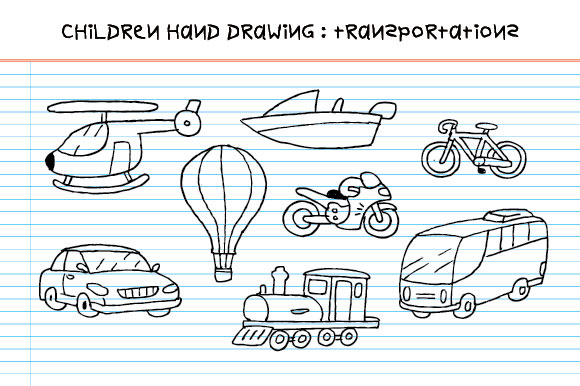 Children Hand Drawing Transportation Graphic By Emnazar2009