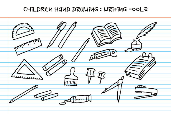 Children Hand Drawing - Writing Tools Graphic Illustrations By emnazar2009