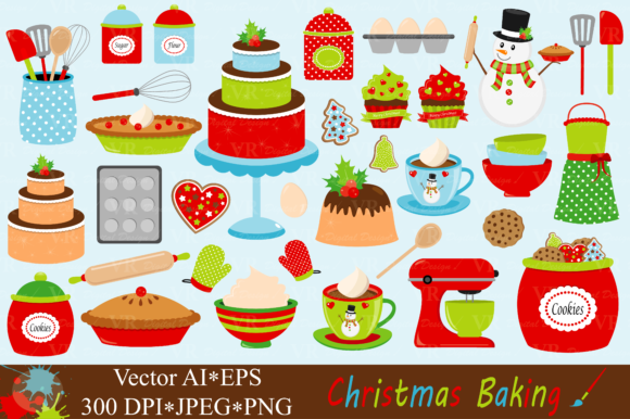 Christmas Baking Clipart - Vector Graphic Illustrations By VR Digital Design