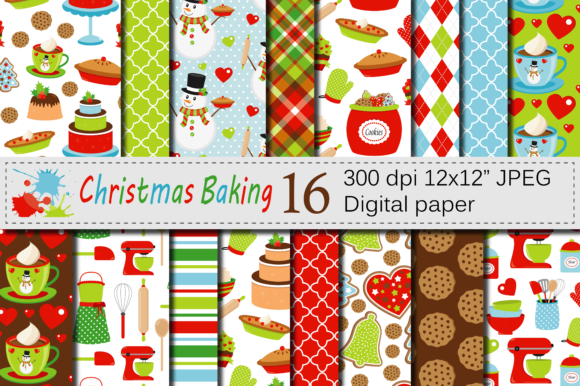 Download Free Christmas Baking Digital Paper Pack Graphic By Vr Digital Design for Cricut Explore, Silhouette and other cutting machines.
