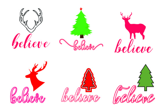 Print on Demand: Christmas Believe Bundle Graphic Print Templates By BlueStar Creatives