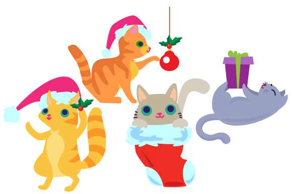 Download Free Set Of 4 Christmas Cats Svg Cut File By Creative Fabrica Crafts for Cricut Explore, Silhouette and other cutting machines.