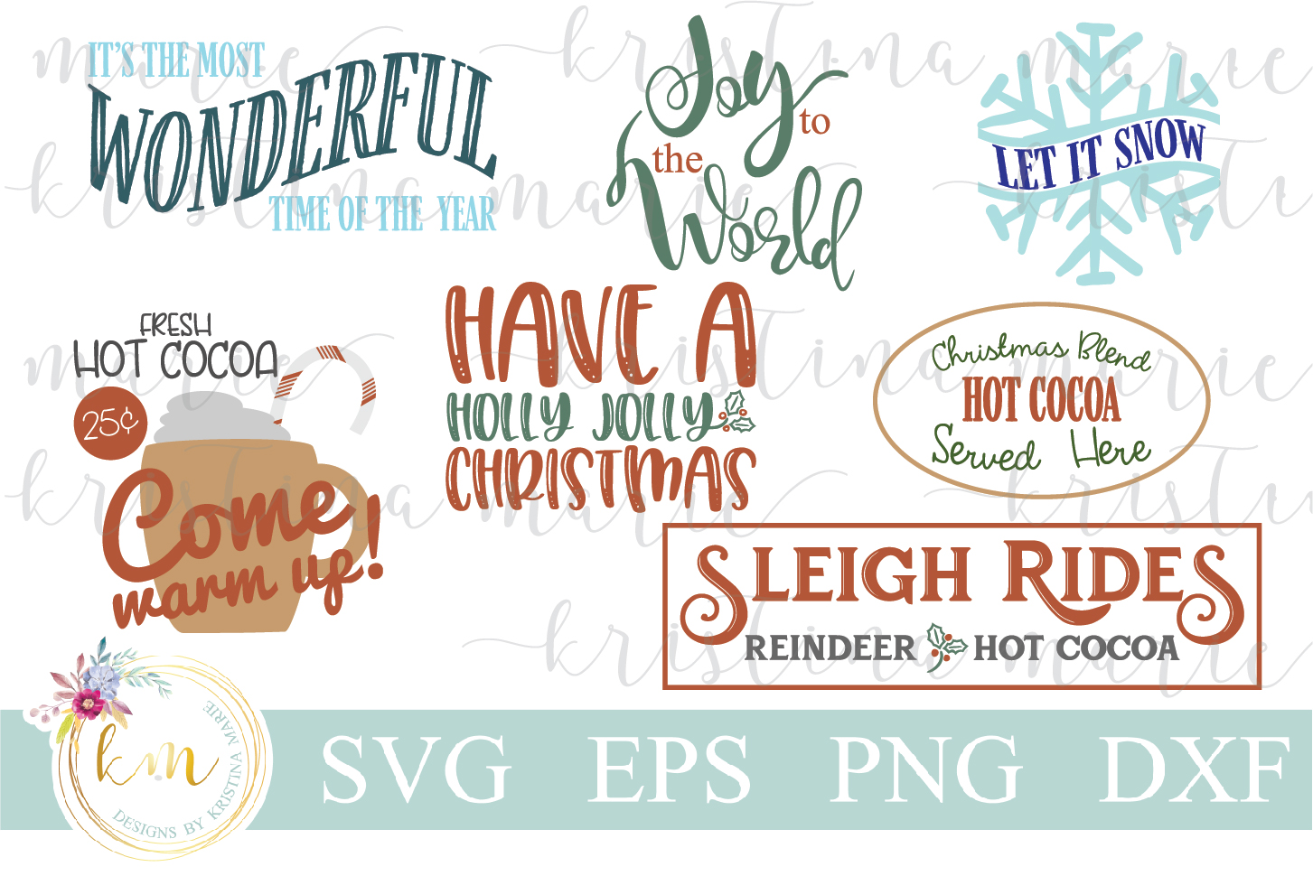 Download Free Christmas Cut File Bundle Graphic By Kristina Marie Design for Cricut Explore, Silhouette and other cutting machines.