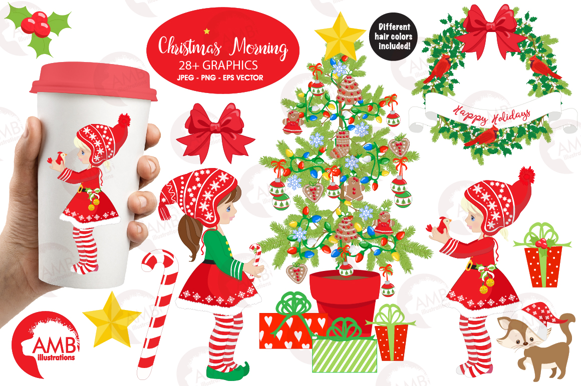 Download Free Christmas Elves Clipart Graphic By Ambillustrations Creative for Cricut Explore, Silhouette and other cutting machines.
