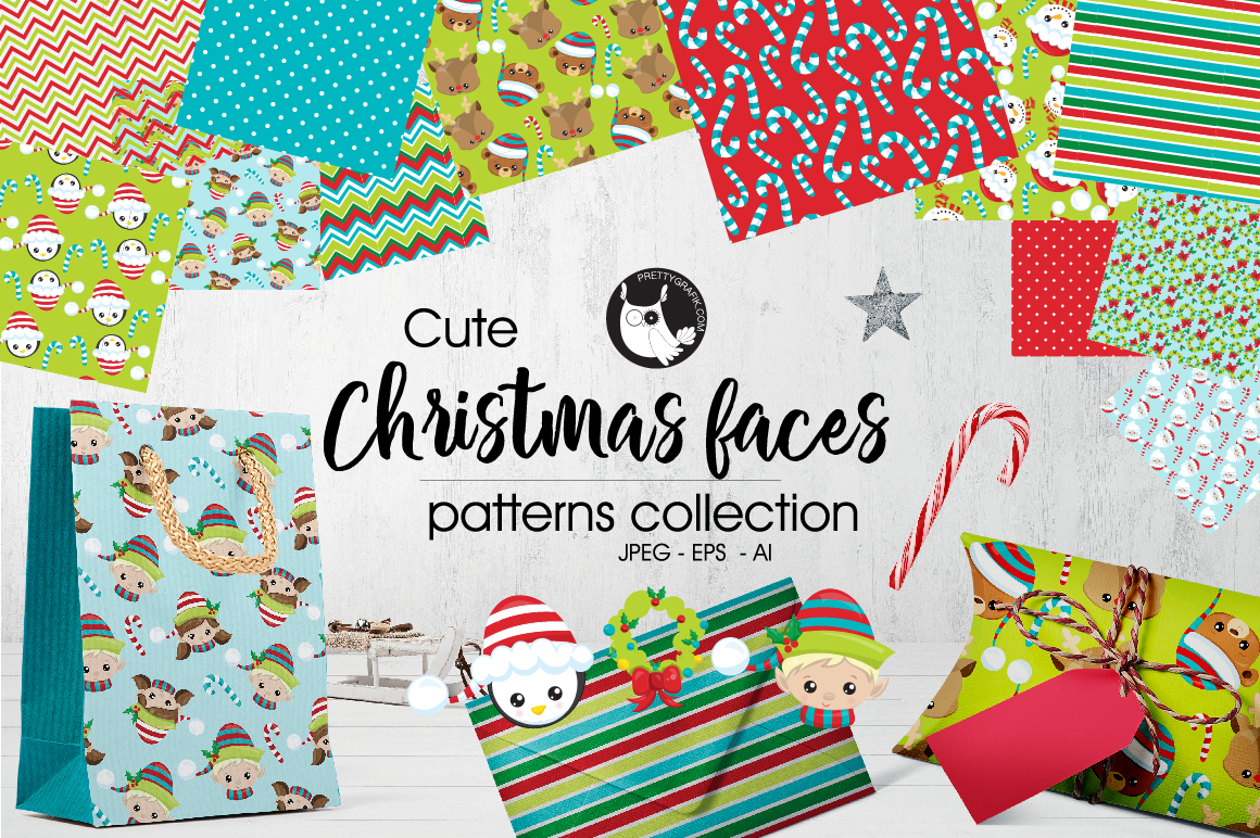 Download Free Christmas Faces Patterns Collections Graphic By Prettygrafik for Cricut Explore, Silhouette and other cutting machines.