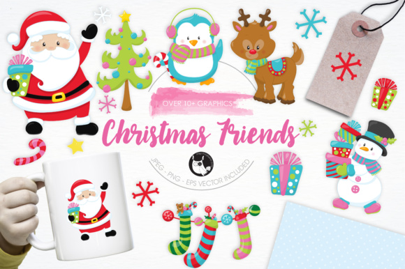 Print on Demand: Christmas Friends Graphic Illustrations By Prettygrafik