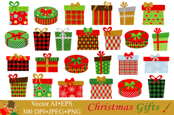 Download Free Christmas Gifts Presents Clipart Vector Graphic By Vr for Cricut Explore, Silhouette and other cutting machines.