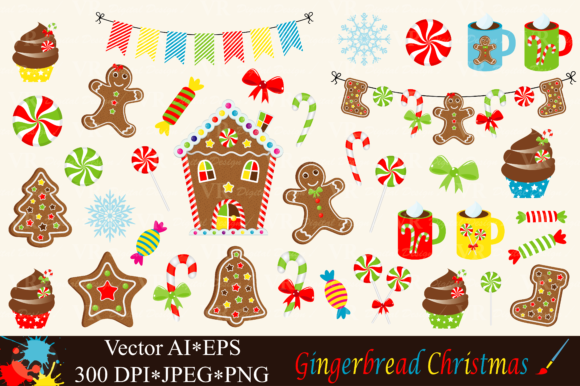 Christmas Gingerbread Clipart - Vector Graphic Illustrations By VR Digital Design
