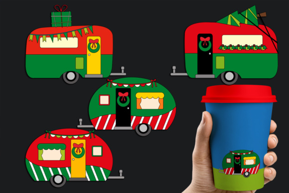 Print on Demand: Christmas Happy Camper, RV Caravan Red Green Graphic Illustrations By Revidevi