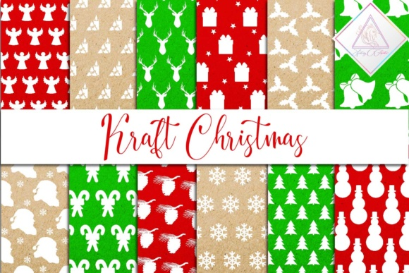 Print on Demand: Christmas Kraft Digital Paper Graphic Backgrounds By fantasycliparts