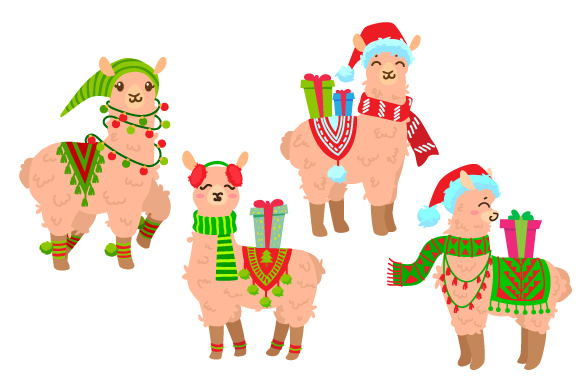 Set of 4 Christmas Llamas Craft Design von Creative Fabrica Crafts