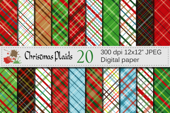 Christmas Plaid Digital Paper Pack Graphic Backgrounds By VR Digital Design