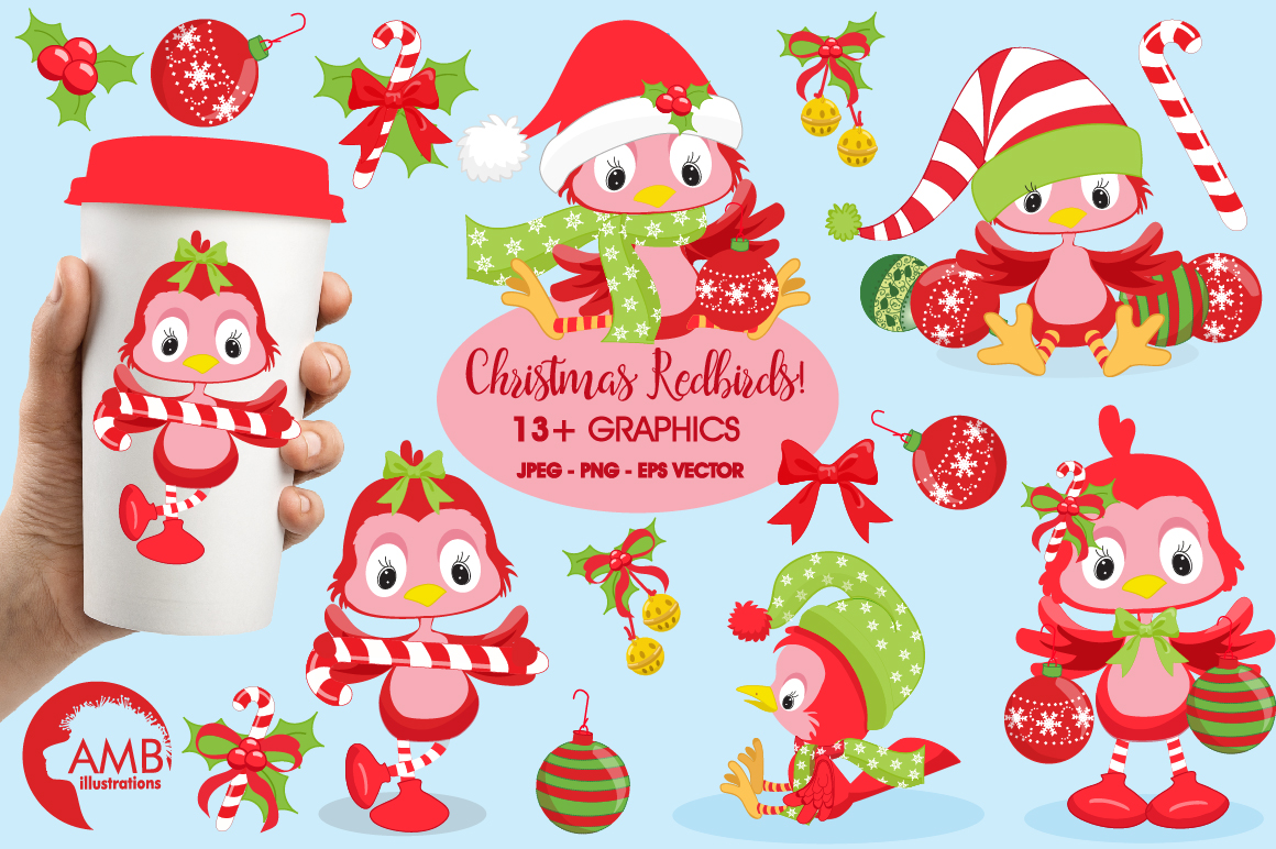 Download Free Christmas Red Birds Clipart Graphic By Ambillustrations for Cricut Explore, Silhouette and other cutting machines.