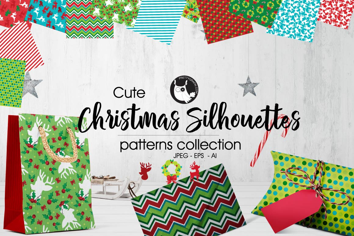 Download Free Christmas Silhouettes Patterns Collections Graphic By for Cricut Explore, Silhouette and other cutting machines.