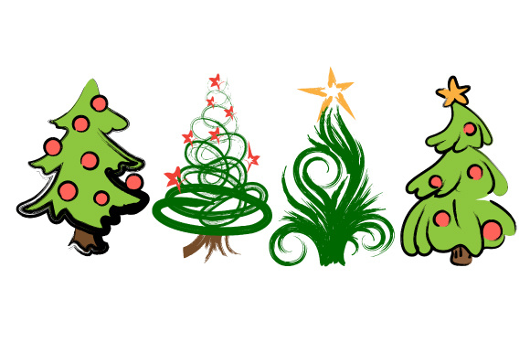 Set of 4 Christmas Trees Christmas Craft Cut File By Creative Fabrica Crafts