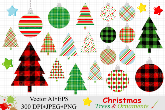 Christmas Trees and Ornaments Clipart - Vector Graphic Illustrations By VR Digital Design