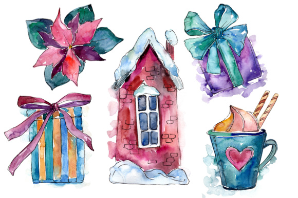 Print on Demand: Christmas Gifts Watercolor Set Graphic Illustrations By MyStocks