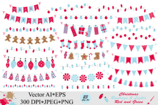 Download Free Christmas Red And Blue Bunting Banners And String Lights Graphic for Cricut Explore, Silhouette and other cutting machines.