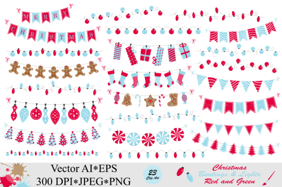 Christmas Red and Blue Bunting Banners and String Lights Graphic Illustrations By VR Digital Design
