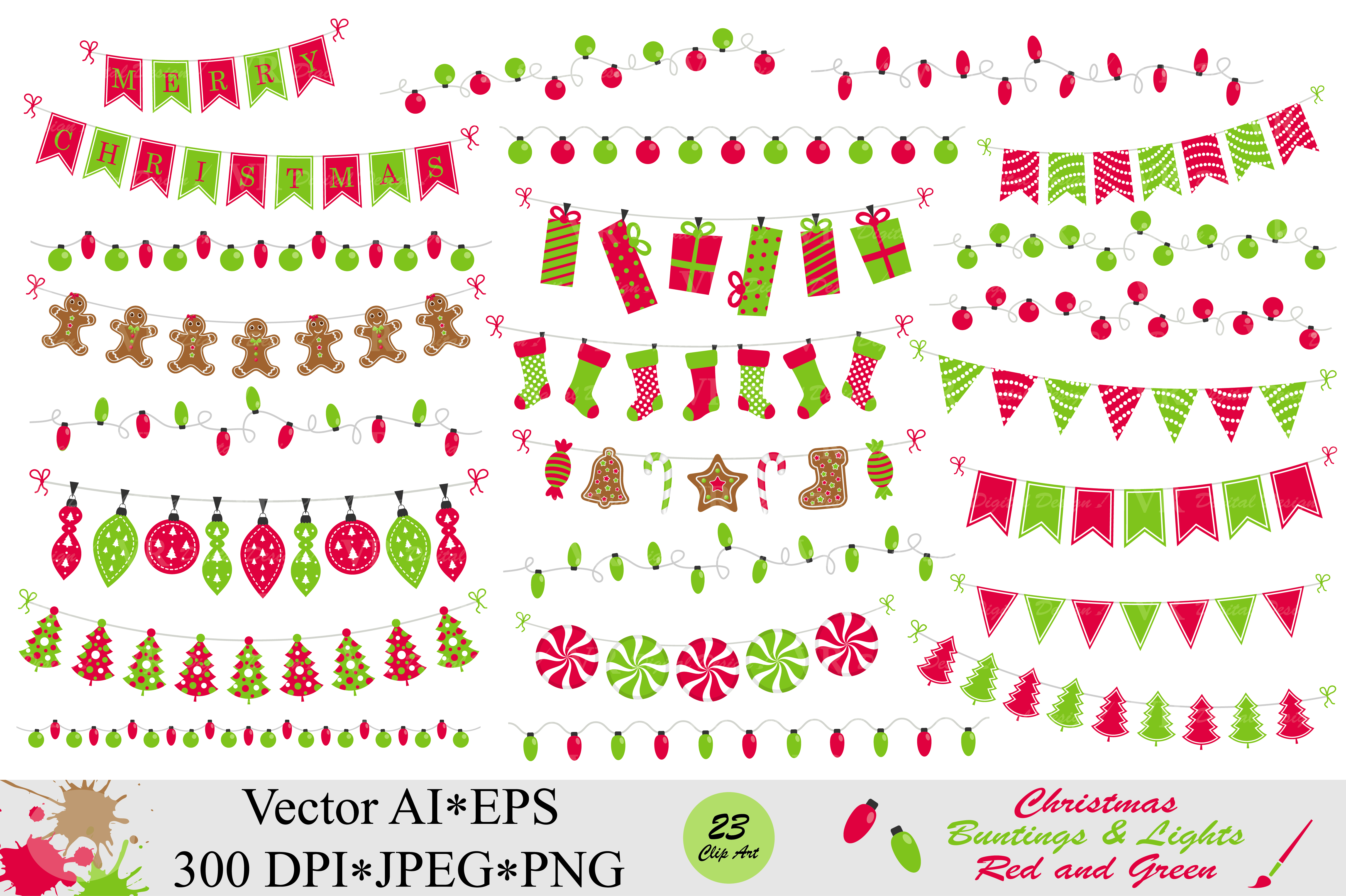 Download Free Christmas Red And Green Bunting Banners And String Lights Clipart for Cricut Explore, Silhouette and other cutting machines.