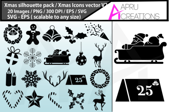 Print on Demand: Christmas Svg Silhouette Bundle Graphic Crafts By aparnastjp