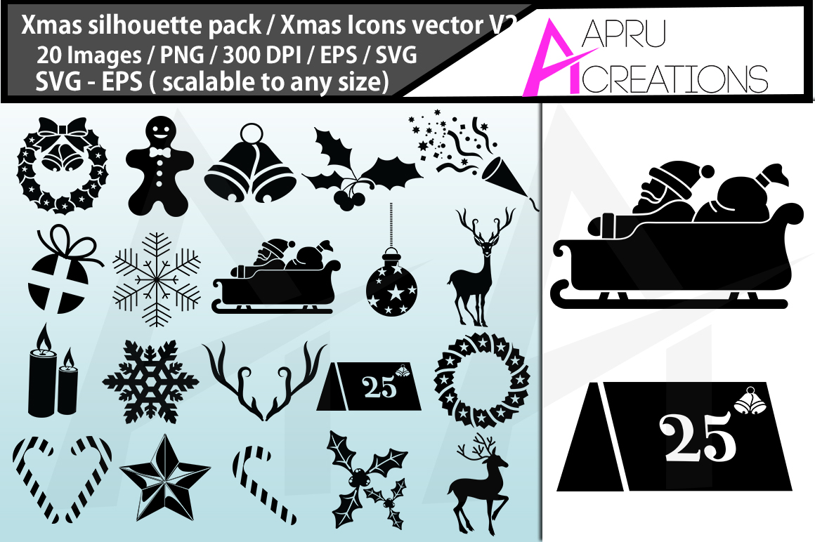 Download Free Christmas Silhouette Bundle Graphic By Aparnastjp Creative Fabrica for Cricut Explore, Silhouette and other cutting machines.