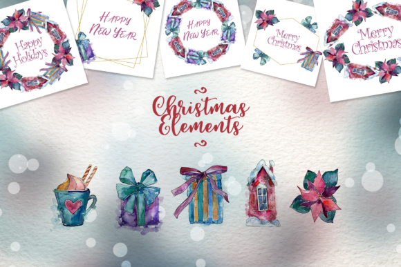 Download Free Christmas Time Watercolor Set Graphic By Mystocks Creative Fabrica for Cricut Explore, Silhouette and other cutting machines.
