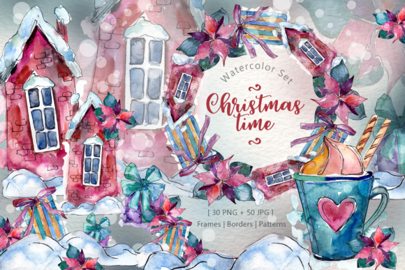 Print on Demand: Christmas Time Watercolor Set Graphic Illustrations By MyStocks