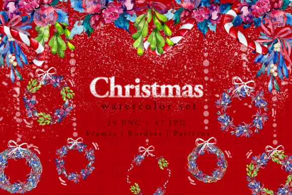 Print on Demand: Christmas Winter Holiday PNG Watercolor Set Graphic Illustrations By MyStocks - Image 1