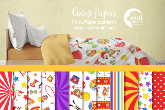 Circus Papers Graphic Patterns By AMBillustrations