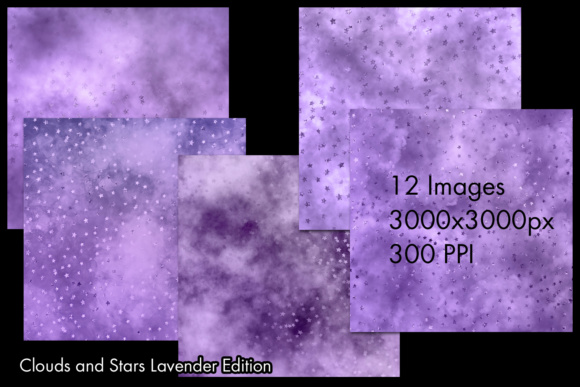 Print on Demand: Clouds and Stars Lavender Edition Backgrounds - 12 Images Graphic Backgrounds By SapphireXDesigns - Image 2