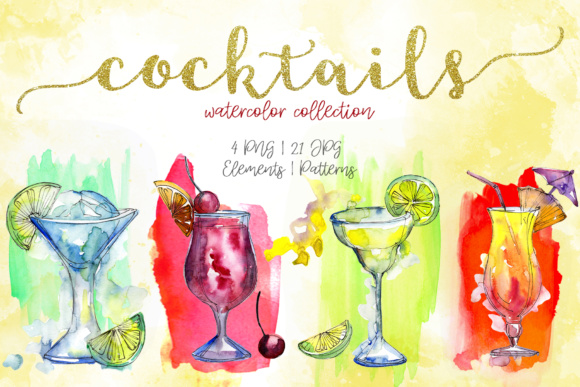 Print on Demand: Cocktails Watercolor Collection Set Graphic Illustrations By MyStocks