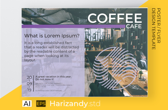 Coffee Cafe Flyer Template Graphic Print Templates By harizandy
