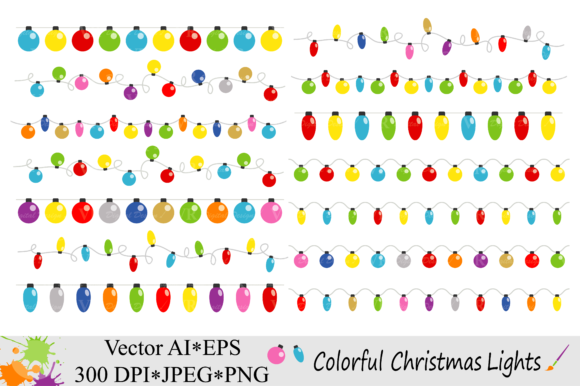 Download Free Colorful Christmas String Lights Clipart Vector Graphic By Vr for Cricut Explore, Silhouette and other cutting machines.