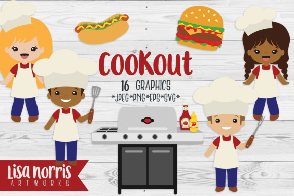 Cookout Clip Art Graphics & SVG Cutting Files Graphic Illustrations By Lisa Norris Artworks