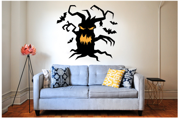 Creepy Wall Cutout - Halloween Tree Halloween Plotterdatei von Creative Fabrica Crafts